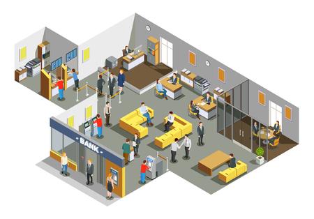 Interior de oficinas del banco con los clientes en el área de espera y empleados de contabilidad que atienden a la ilustración de vector de composición isométrica de clientes