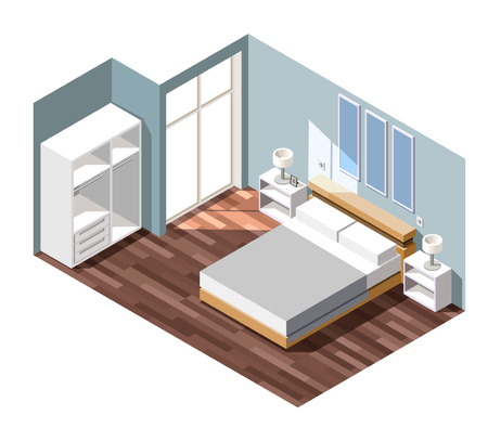 Bedroom interior with grey walls, night tables with lamps near bed, white wardrobe isometric composition vector illustration Stock Vector - 92742938