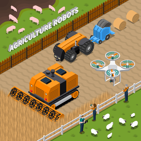 Isometric composition with farming robots including drone, combine, tractor during haying and workers with controllers vector illustration