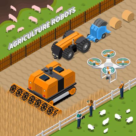 ドローン、コンバイン、干し草中のトラクター、コントローラーベクトルイラストを含む農業ロボットとのアイソメ構成