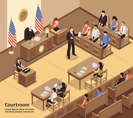 Judiciary isometric vector illustration with jury defendant advocate clerk spectators characters in courtroom interior