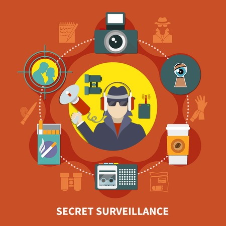 Flat detective composition with secret surveillance description and detective work tools vector illustration