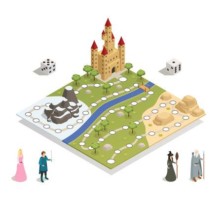 Sprookje spelbord met kasteel landschap prins prinses heks goochelaar en dobbelstenen isometrische samenstelling vectorillustratie