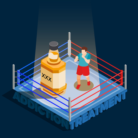 Addiction treatment isometric composition with man during boxing with bottle of alcohol on black background vector illustration