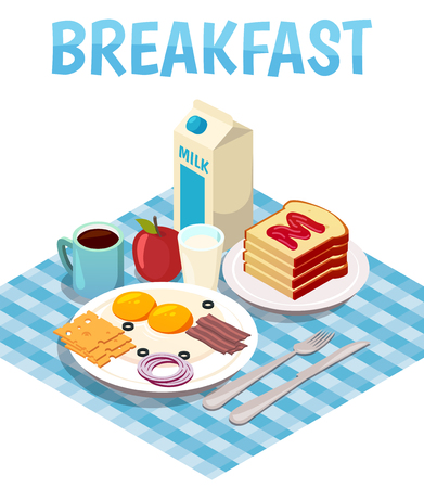 Breakfast isometric composition with fried eggs, milk, bread with jam, tea or coffee on table vector illustration
