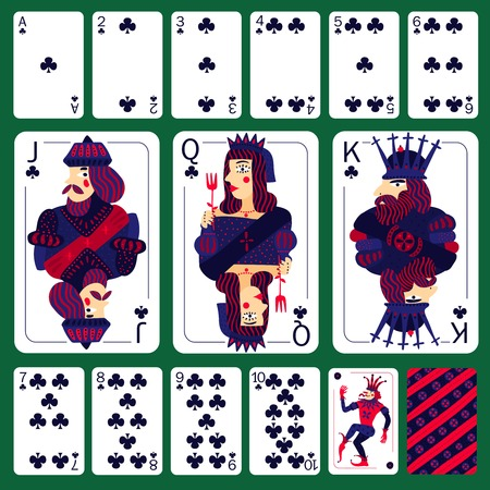 Poker playing cards club suit set laid out on green table isolated vector illustration   Illustration