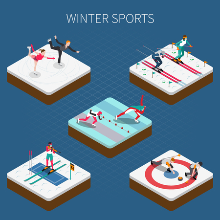 Winter sport isometric people composition with athletes in sportswear doing different kinds of sport vector illustration