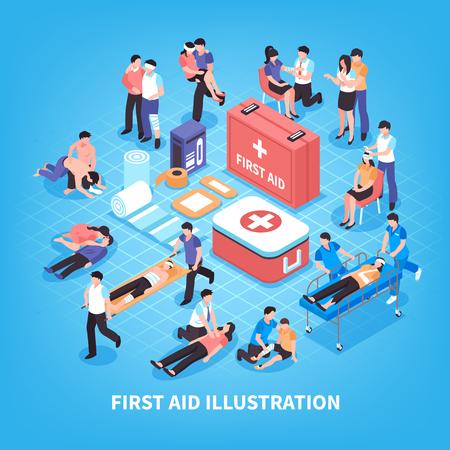 Izometryczny skład pierwszej pomocy z ratowaniem ofiar, zestaw pomocy medycznej na niebieskim tle ilustracji wektorowych Ilustracje wektorowe