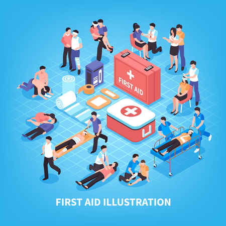 First aid isometric composition with rescue of victim persons, emergency care kit on blue background vector illustration Illustration
