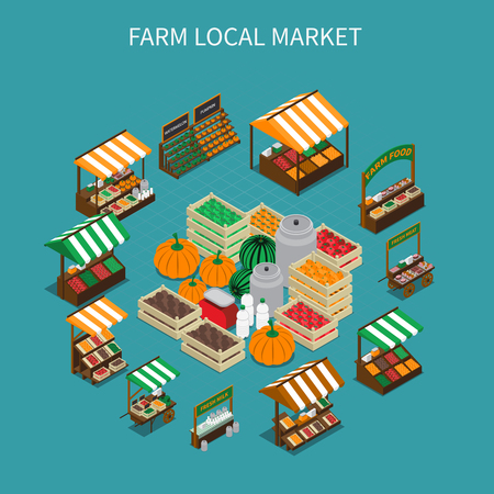 Farm local market isometric composition with images of stall tents and boxes filled with vegetables vector illustration