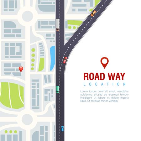 高速道路上の車両と道路ナビゲーションポスター、白い背景ベクトルイラストに位置標識付き都市地図  イラスト・ベクター素材