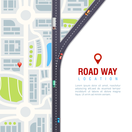 Road navigation poster with vehicles on highway, city map with location sign on white background vector illustration