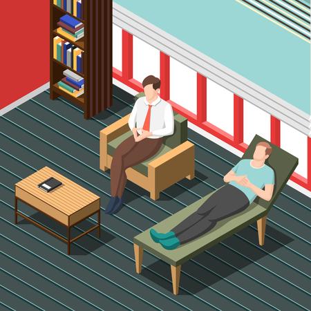 Psicoterapia che consiglia fondo isometrico con medico che parla con paziente che si trova sull'illustrazione di vettore dello strato Archivio Fotografico - 92743062