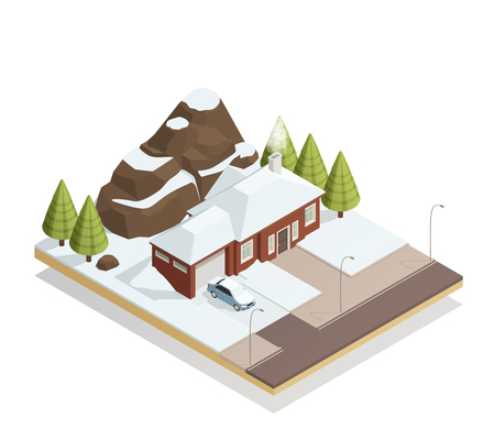 Winter snowy landscape isometric composition with car by garage door cottage rocky mountains fir-trees vector illustration  Ilustração