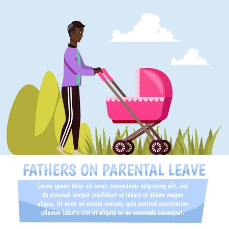 푸른 하늘 배경 벡터 일러스트 레이 션에 부모 유령 직교 컴포지션 동안 핑크 유모차를 산책하는 아버지 일러스트