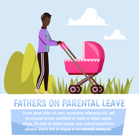 Father walking with pink stroller during parental leave orthogonal composition on blue sky background vector illustration Illustration