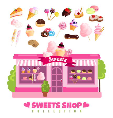 Sweets shop collection design concept with storefront and baked dessert products set isolated vector illustration