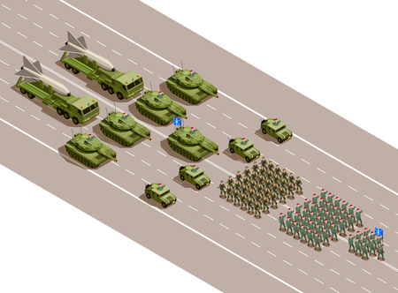 Military parade isometric composition with regiments and army technique blocks of armored vehicles and ballistic missiles vector illustration