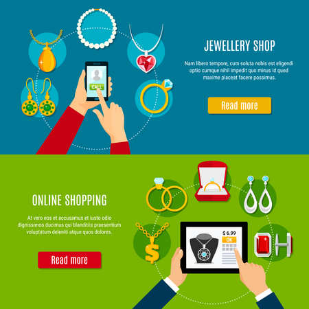 Jewelry shop horizontal banners with mobile device in hand for buying decorations online isolated vector illustration
