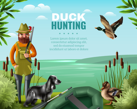 Man in boots with gun for duck hunting with hound and oar boat on river coast vector illustration Stock Illustratie
