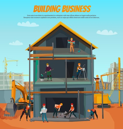 House construction, scene with workers, professional tools, building equipment on blue sky background vector illustration Illustration