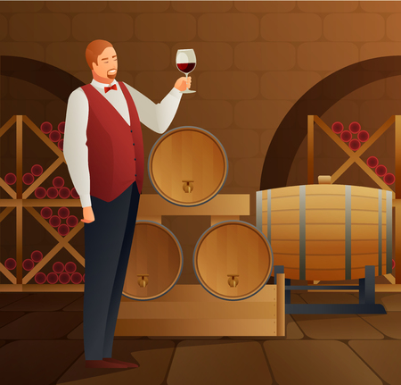 ソムリエ樽とガラスグラデーションフラットベクトルイラストによるワイン生産
