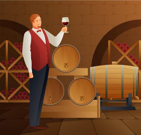 소믈리에 배럴당 및 유리 그라데이션 플랫 벡터 일러스트와 함께 와인 생산