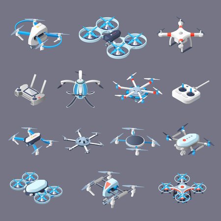 Drones isometric icons set
