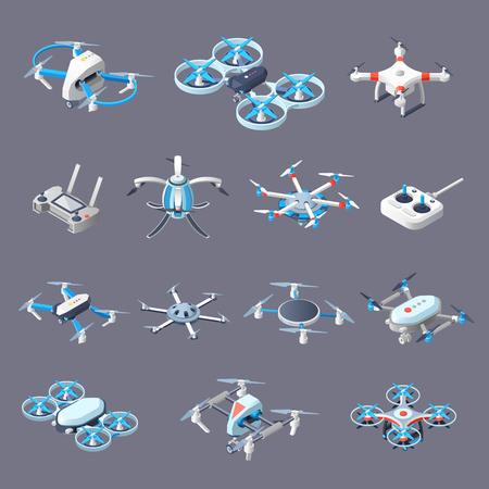 Drones isometric icons set
