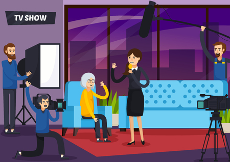 Tv show with woman presenter, sound man, cameraman and elderly visitor in studio vector illustration