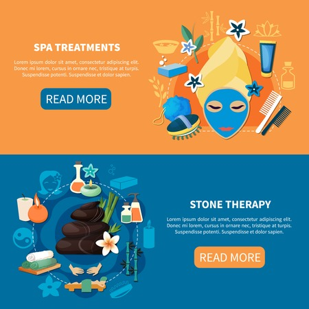 Tratamientos de salud del balneario con baños medicinales, lava caliente y piedras de roca del río masaje pancartas planas vector illustration Foto de archivo - 93057538