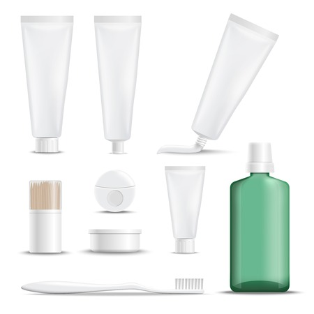 Realistische Produkte für Zahnpflegesatz Ikonen mit Zahnbürste, Zahnputzmittel, Glasschlacke, Zahnstocher, Mundwasser lokalisierten Vektorillustration Standard-Bild - 93058246