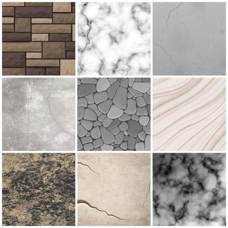 El mármol de la piedra del revestimiento realista y los azulejos rectangulares diseñan la colección de las muestras de los modelos de la decoración del diseño interior que muestrea la ilustración del vector