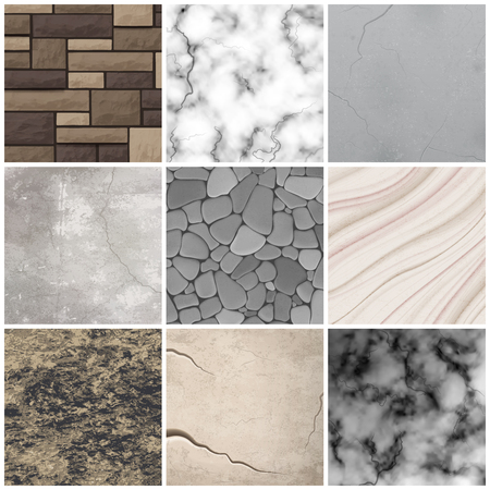 Realistic cladding stone marble and rectangular tiles texture interior design decoration patterns samples collection isolated vector illustration