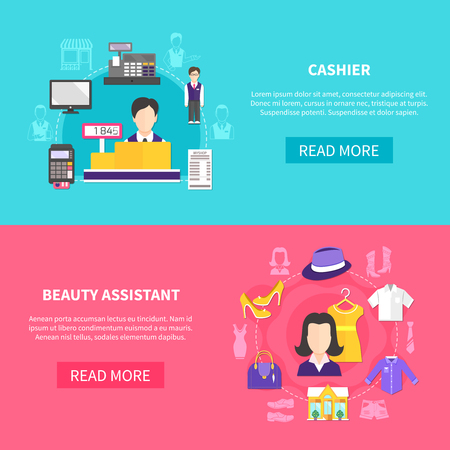 Set of two horizontal salesman banners with images of women clothes payment appliances and human characters vector illustration