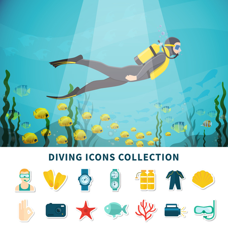 Diving icons collection with scuba equipment including camera and flashlight, gestures, underwater wildlife isolated vector illustration