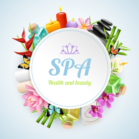Spa round frame formed from set of spa treatment and cosmetology elements realistic vector illustration