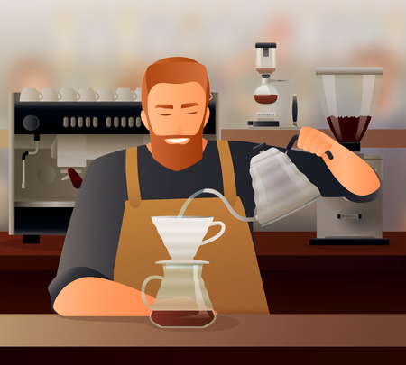 Barista gradient composition with coffee cup and teapot flat vector illustration Çizim