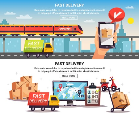 Free train truck shipment fast delivery service with online tracking 2 horizontal banners design isolated vector illustration