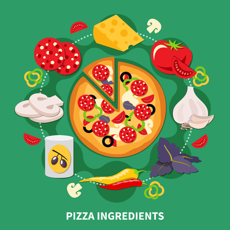 Pizza ingredients round composition with vector images of various pizza filler slices and cooked pepperoni pizza vector illustration