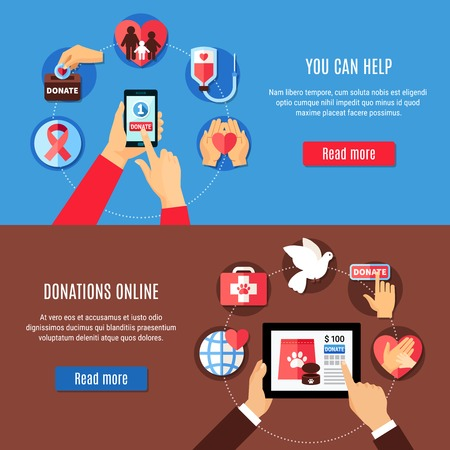 Charity banners set with human hands holding gadgets and online charity application pictograms with read more button vector illustration Illustration