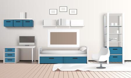 国内の技術ベクトルイラストと青と白の配色でモダンなパーラーとプライベートルームリアルな3Dインテリア  イラスト・ベクター素材