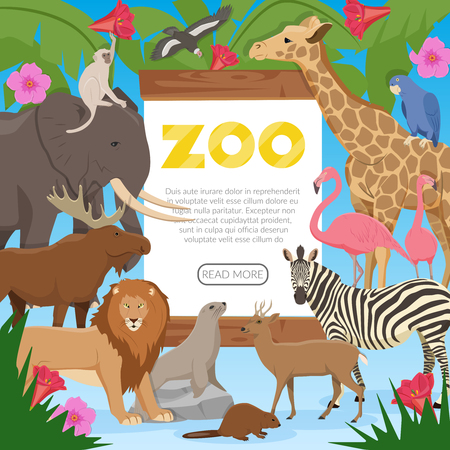 Zoo poster with cartoon collection of exotic wild animals inhabitants of tropical jungle savannah and tundra flat vector illustration  Illustration