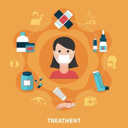 Allergy symptoms and various ways of treatment concept on orange background flat vector illustration