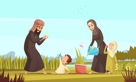 Young arab muslim family in traditional clothing with two children outdoor playing and watering plant cartoon vector illustration