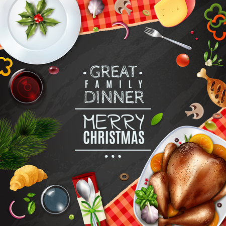 Colored realistic turkey thankgiving day christmas frame with great family dinner description vector illustration