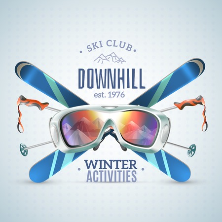 Colored ski club poster with downhill winter activities headline and equipment extremals vector illustration