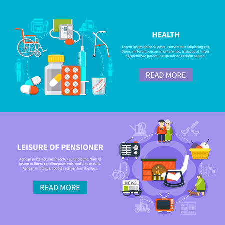 Two horizontal pensioner flat banner set with health leisure of pensioner descriptions and read more buttons vector illustration