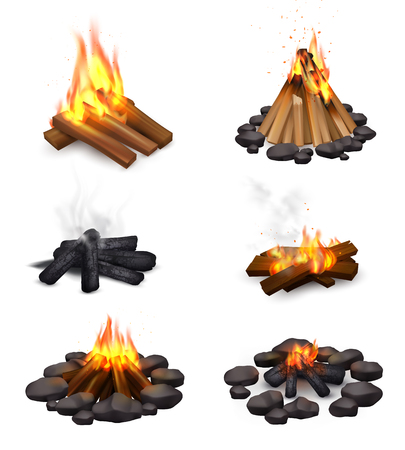 Realistic campfire smoke set of six isolated images with bonfire at various points of burning down vector illustration Vettoriali