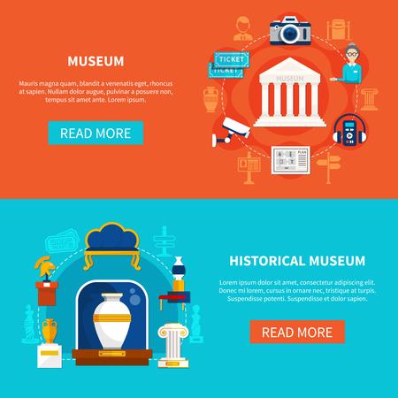 Bannières plates horizontales sur le thème du musée avec des artefacts historiques guident les accessoires et illustration vectorielle de matériel d'exposition Banque d'images - 93057662